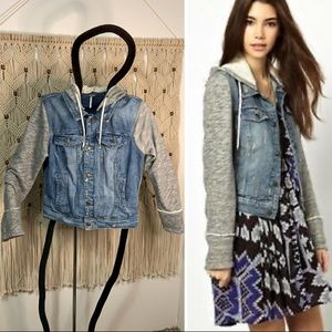 Free People denim knit distressed jacket sz L